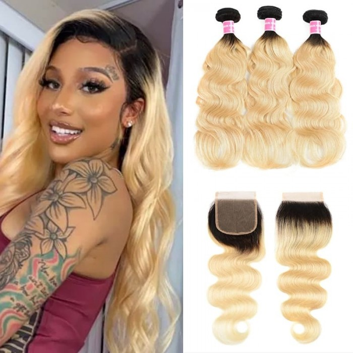 Incolorwig Malaysian Human Hair Combination #T1B613 Ombre Blonde Body Wave Hair 3 Bundles Deals With 4*4 Lace Closure