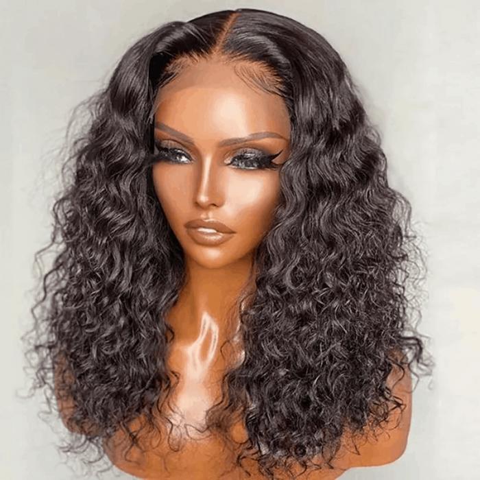 Incolorwig Short Bob Premium Water Wave 4x4 Lace Closure Wigs 150% Density Black Hair Wig